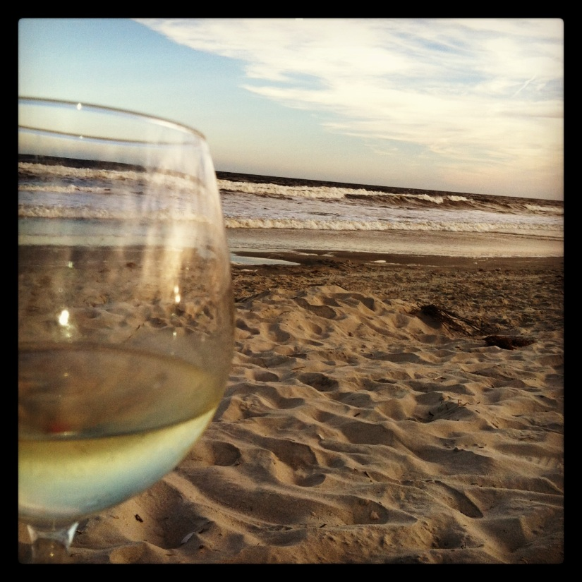 Wine, saltwater and sand is all I need.  This is what heaven looks like