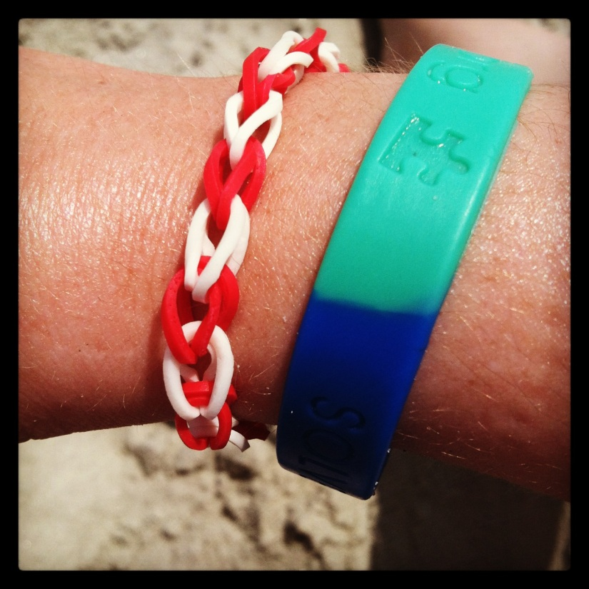 This is what happens when a pack of cute kids asks you to buy one of their bracelets they made.  I couldn't say no!