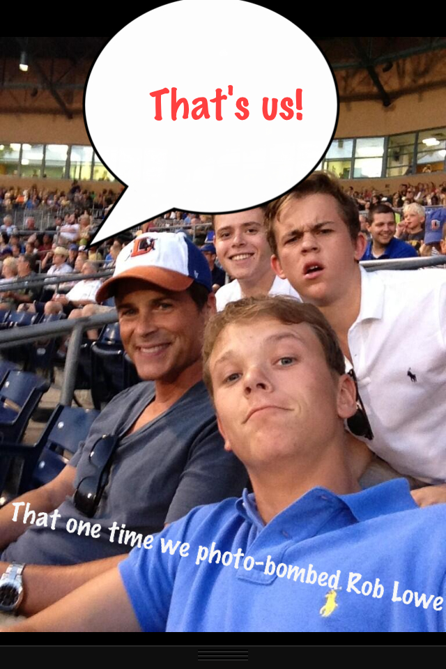 That one time we photo bombed Rob Lowe's family picture and ended up on their Twitter feed. HOLLAAAAA